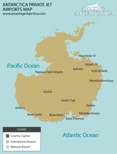 Antarctica private jet airports map