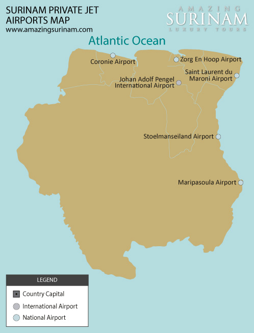 Surinam private jet airports map