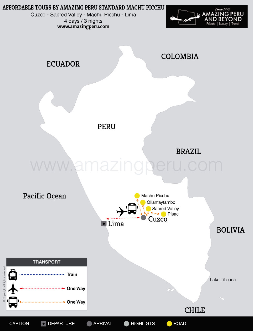 2015 Affordable Tours by Amazing Peru Standard Machu Picchu - 4 days / 3 nights.