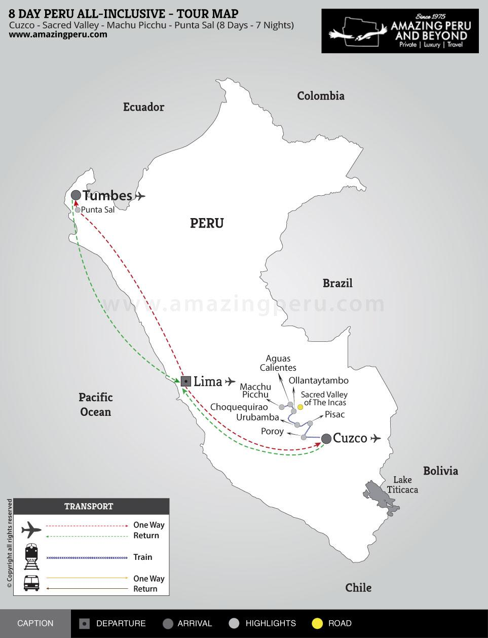 8 day Peru All-Inclusive Tour - 8 days / 7 nights.