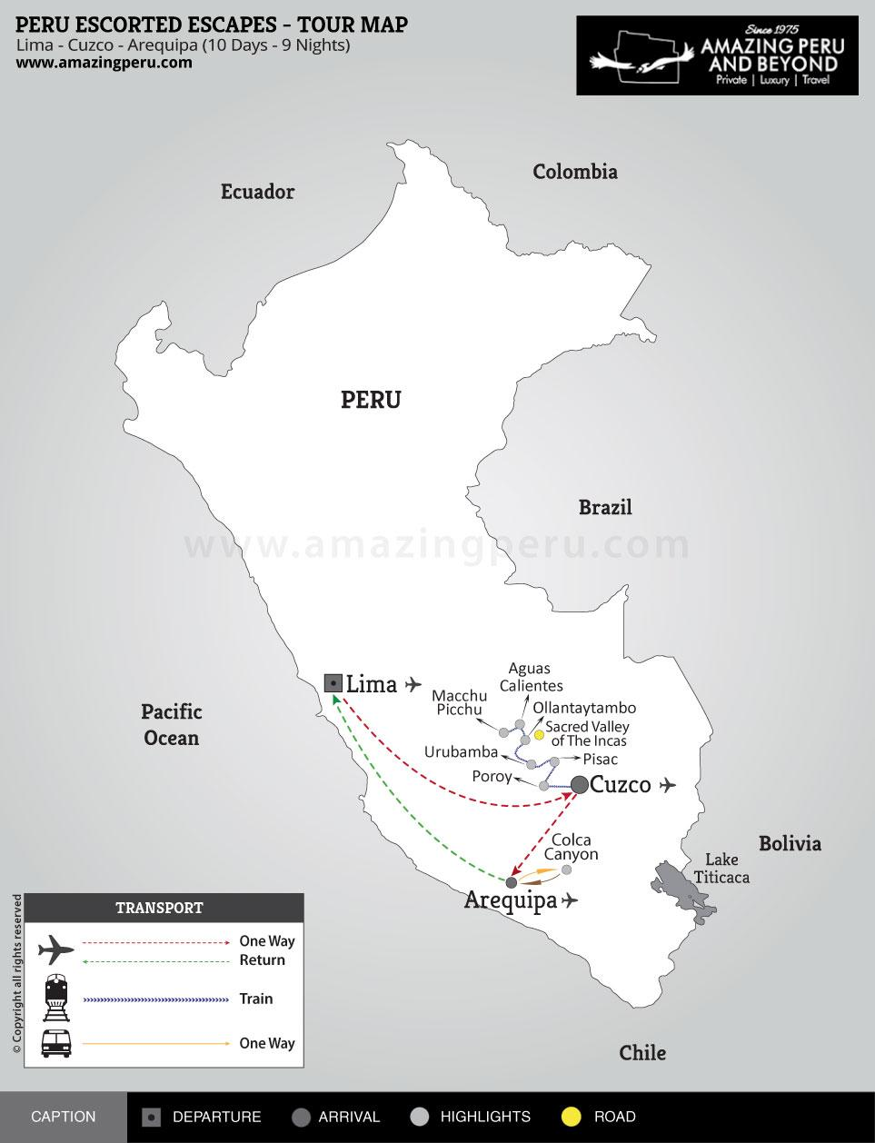 Peru Escorted Escapes Tour 2 - 10 days / 9 nights.