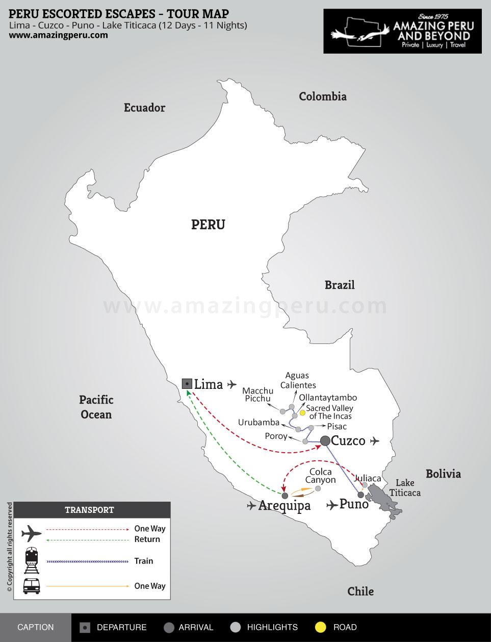 Peru Escorted Escapes Tour 3 - 12 days / 11 nights.