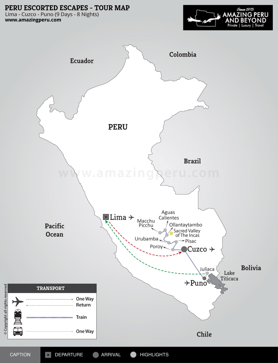 Peru Escorted Escapes Tour 1 - 9 days / 8 nights.