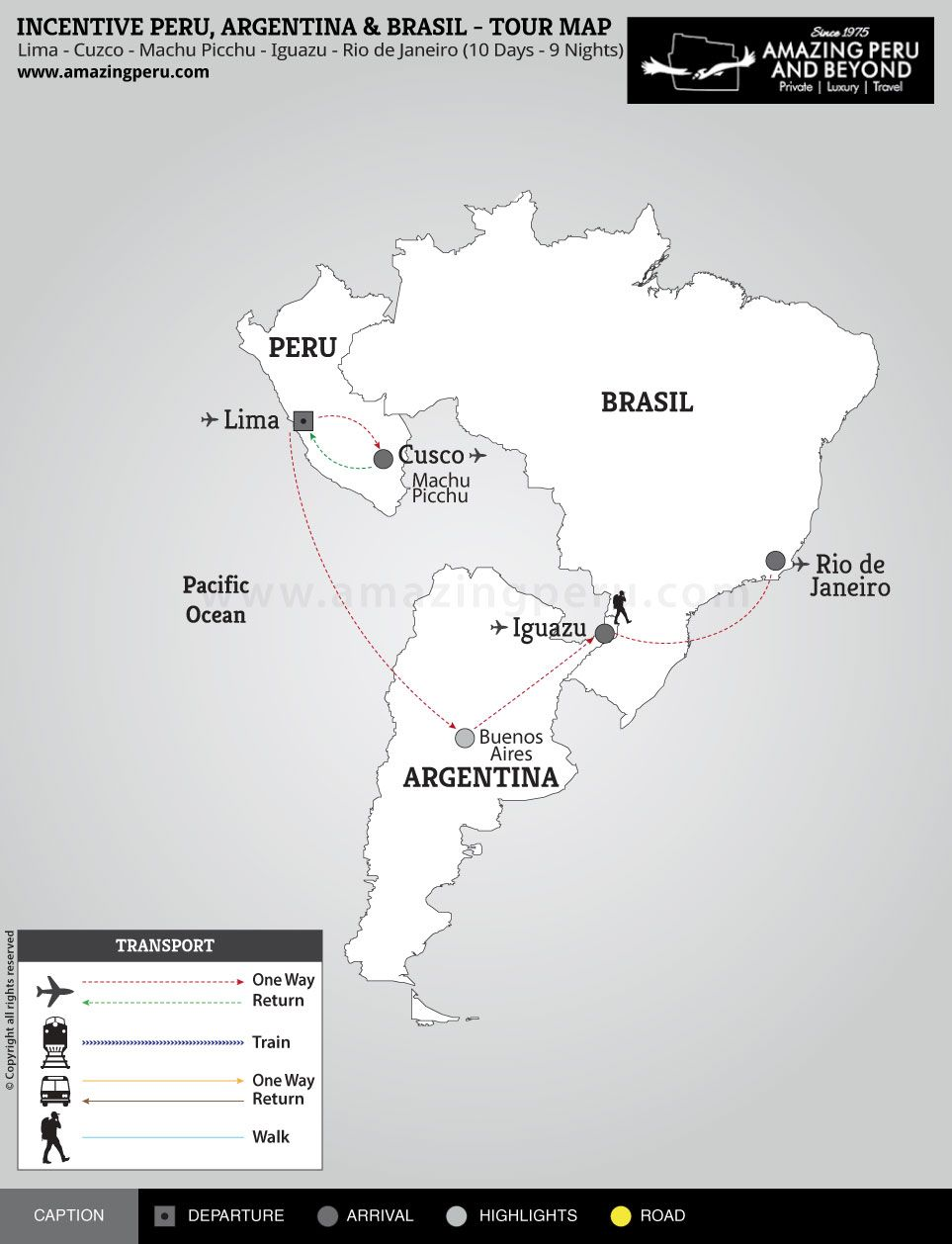 Incentive Peru, Argentina & Brazil Tour - 10 days / 9 nights.