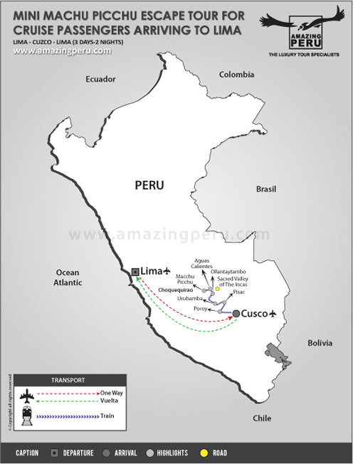 tour map: Mini Machu Picchu Escape tour for cruise passengers arriving to Lima - 3 days / 2 nights.