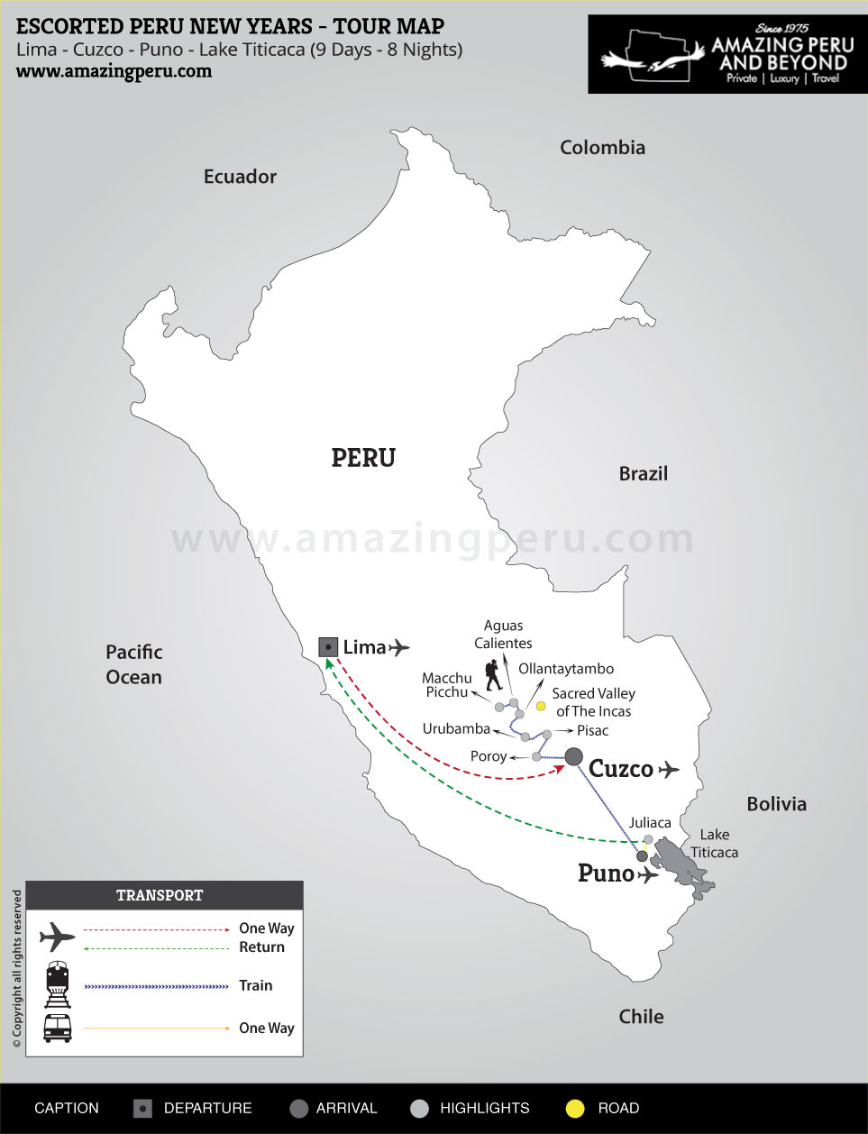 2020-21 Escorted Peru New Years 1 - 9 days / 8 nights.