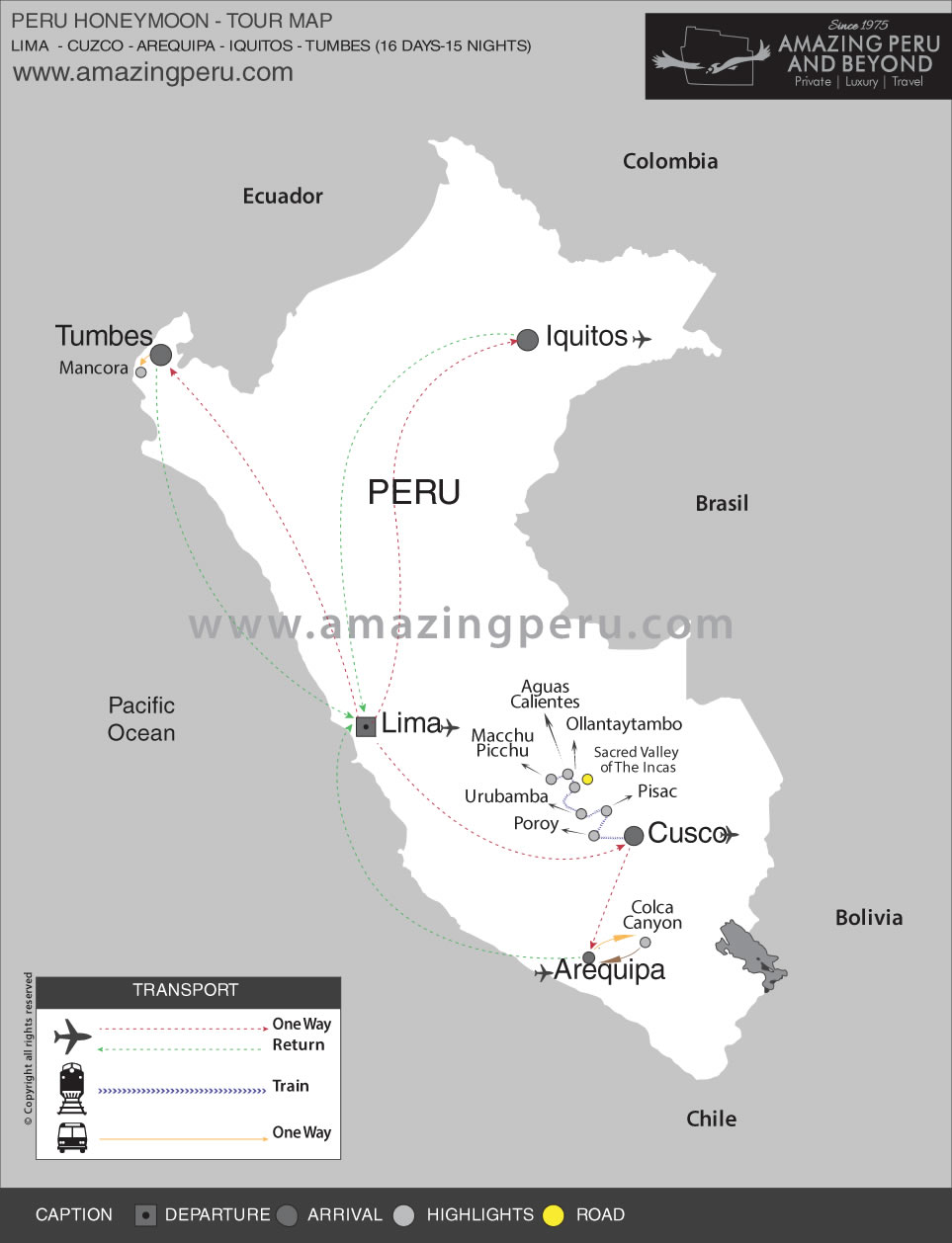 Peru Honeymoon Tour 2 - 16 days / 15 nights.