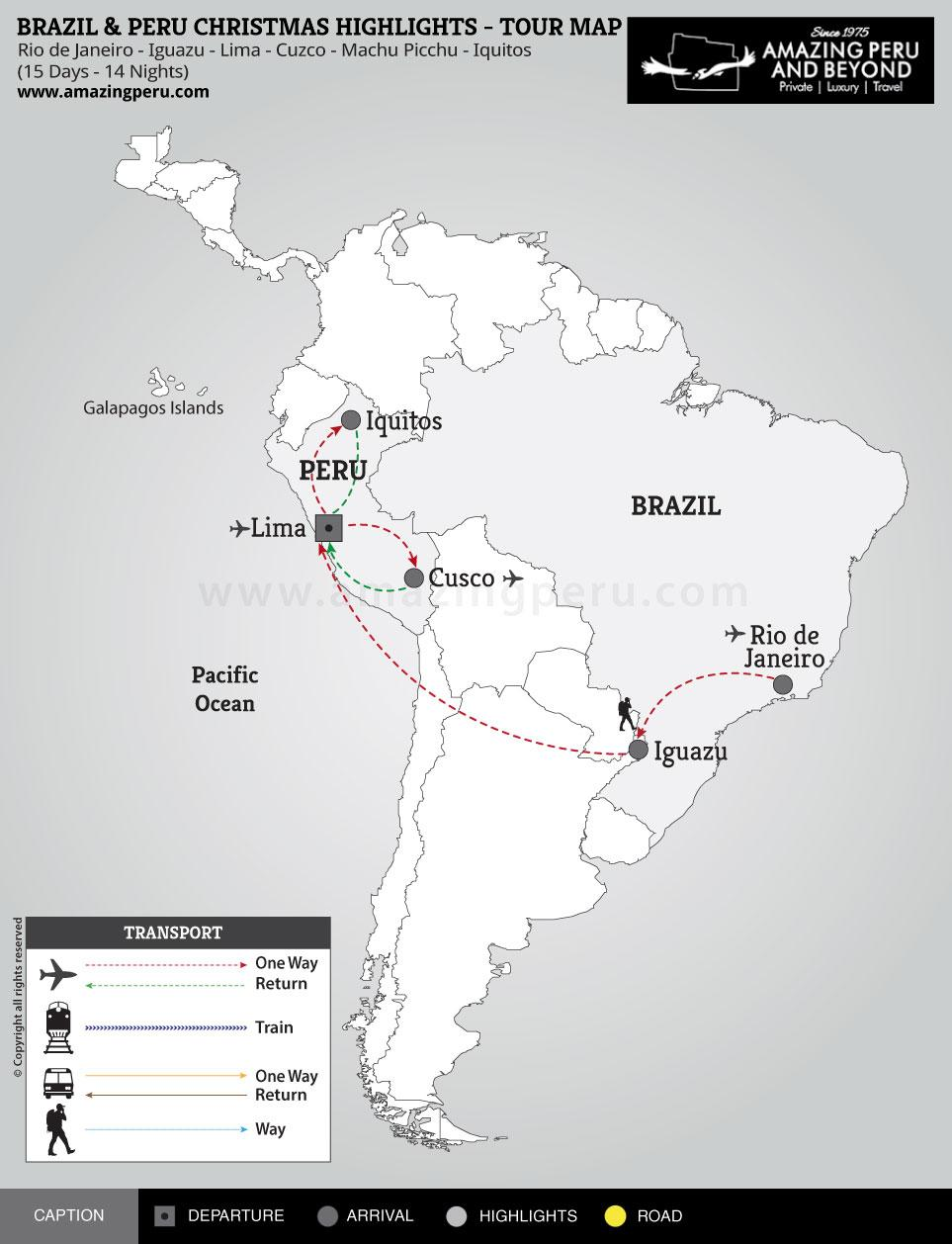 Brazil & Peru Christmas Highlights Tour - 15 days / 14 nights.