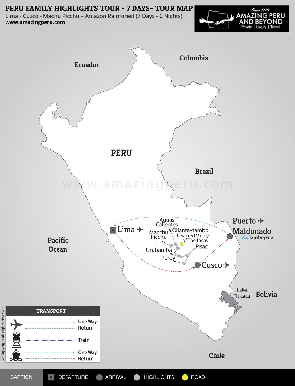 tour map:Peru Family Highlights Tour - 7 days - 7 days / 6 nights.