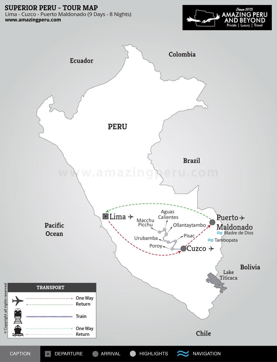 Superior Peru Tour 1 - 9 days / 8 nights.