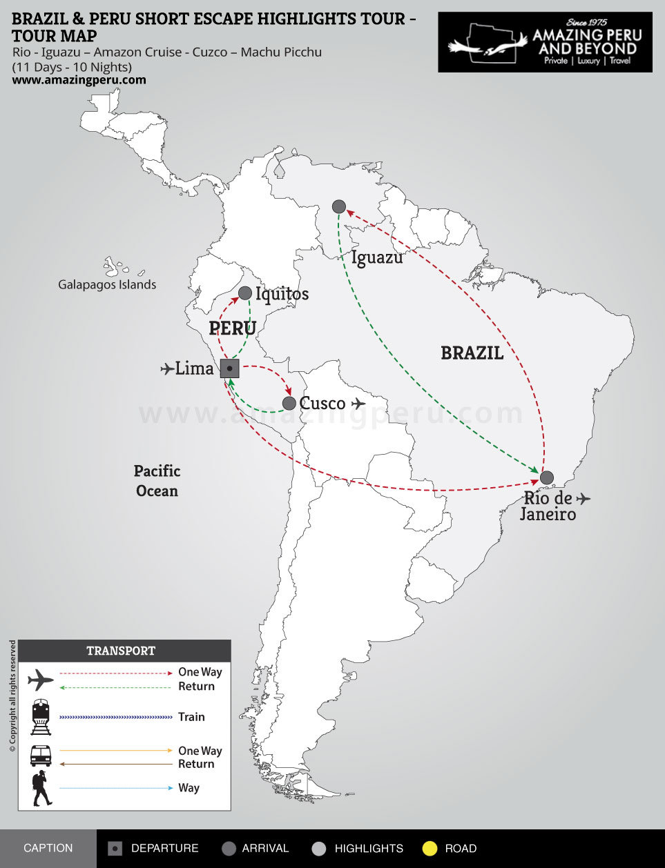 Brazil & Peru Short Escape Highlights Tour - 11 days / 10 nights.