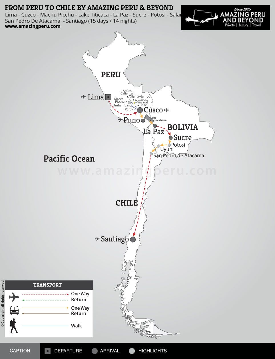 From Peru to Chile by Amazing Peru & Beyond - 15 days / 14 nights.