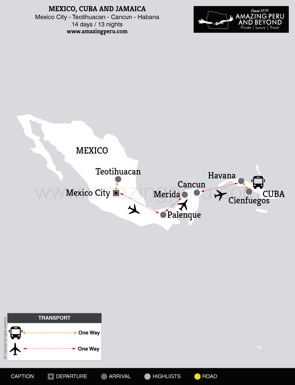 2020 Mexico, Cuba and Jamaica - 14 days / 13 nights.