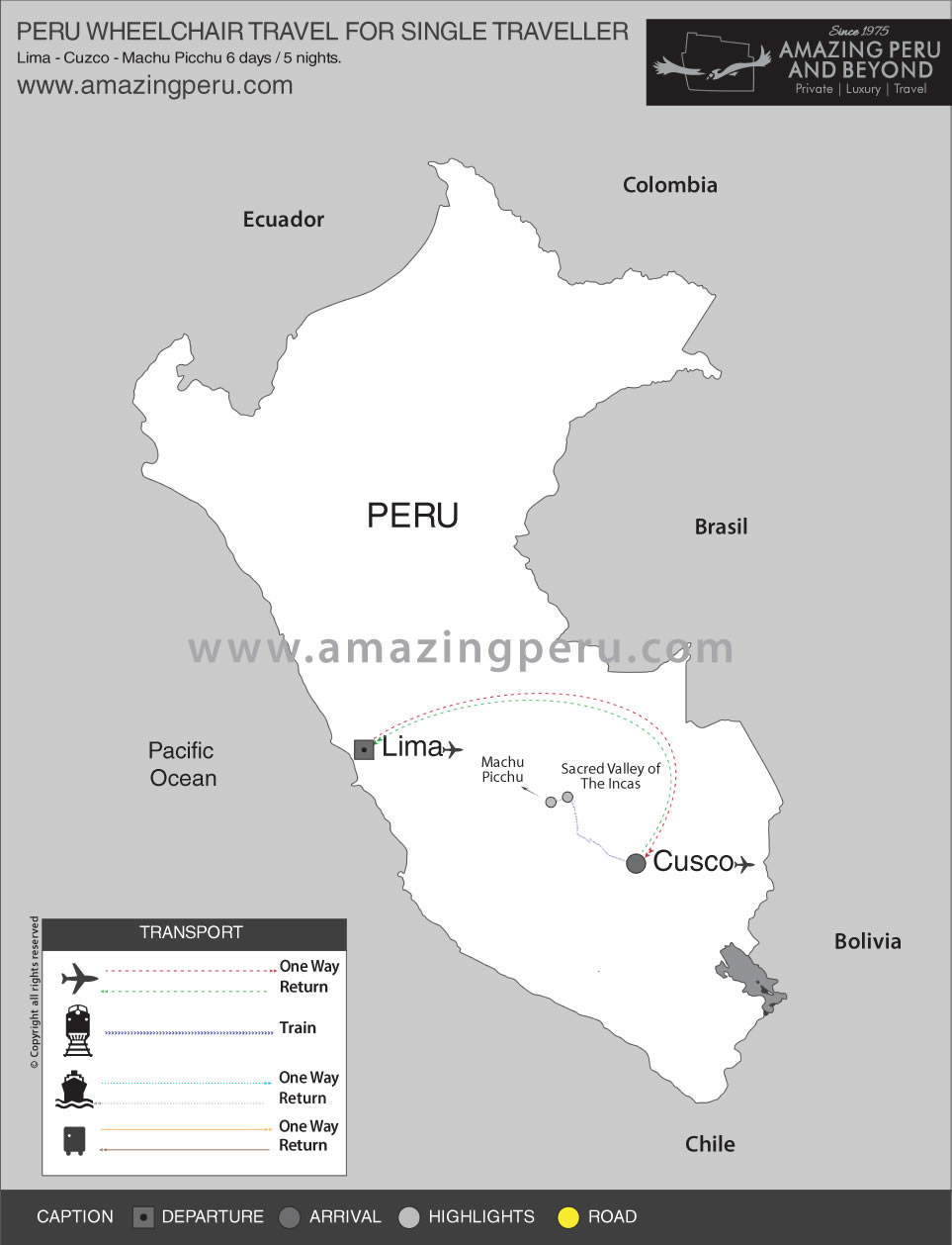 Peru Wheelchair Travel for Single traveller - 6 days / 5 nights.