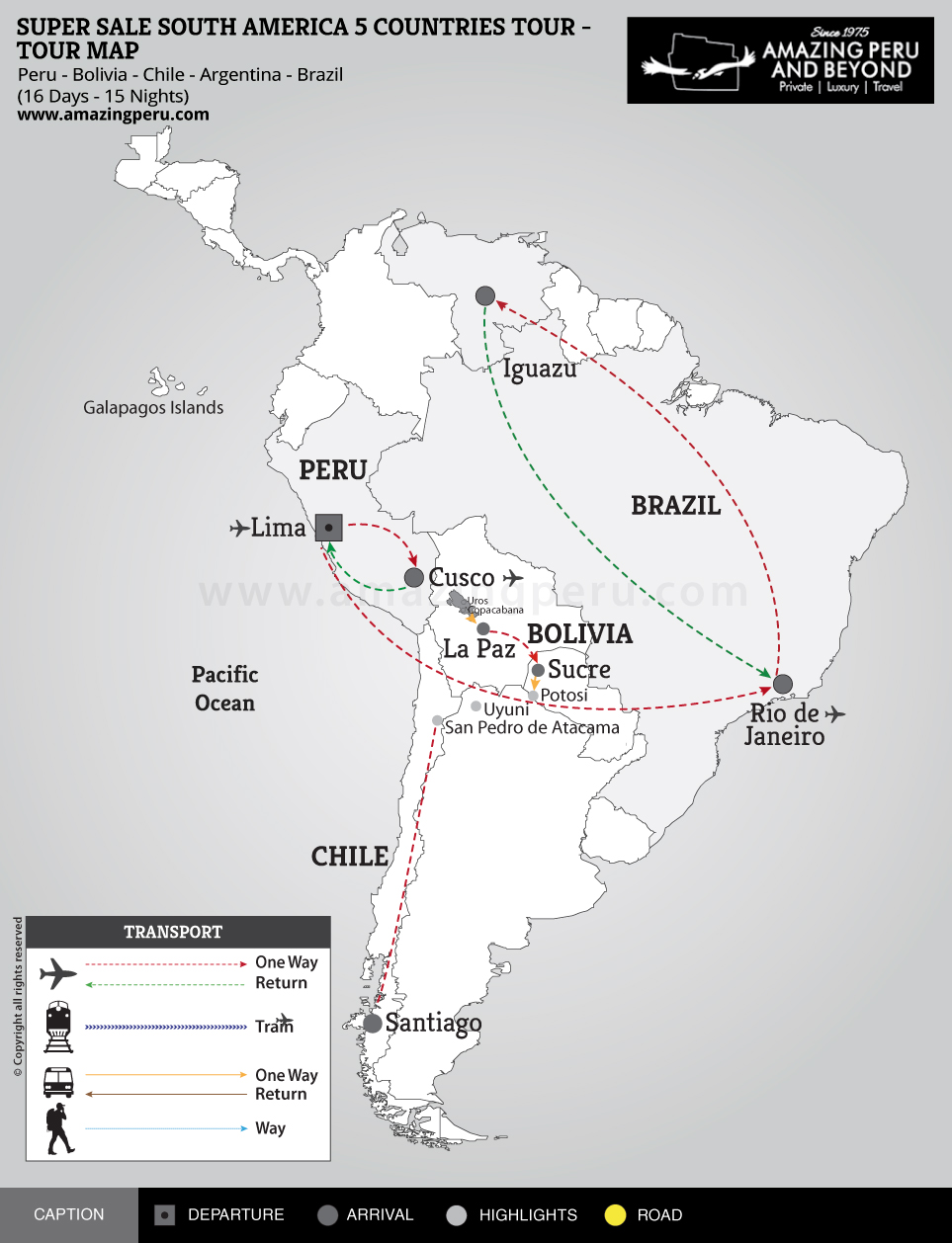 Super Sale South America 5 Countries Tour - 16 days / 15 nights.