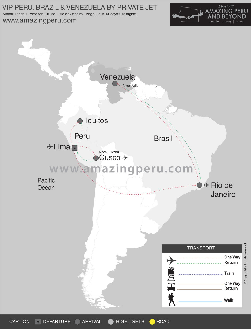 VIP Peru, Brazil & Venezuela by Private Jet - 14 days / 13 nights.