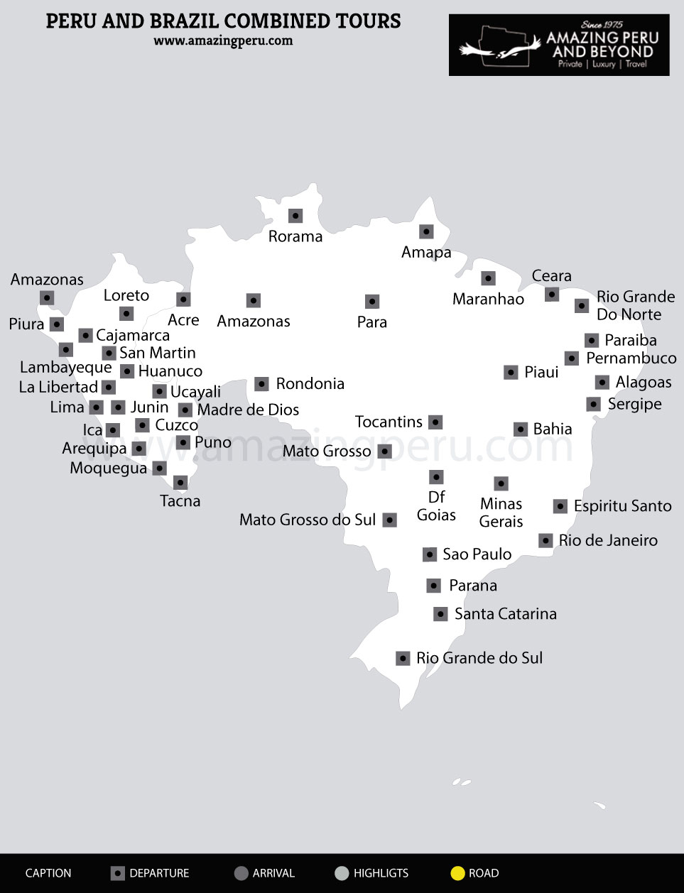 tour map peru brazil combined tours