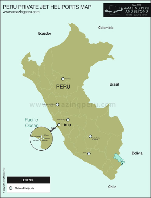 Peru private jet heliports map